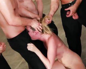 Group Blowjob Gang Bang and Cum
