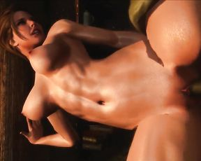 3D Futanari Cartoon Sex - By the Fireplace