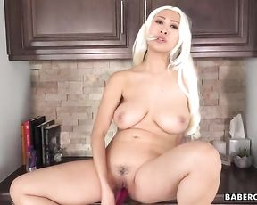 Solo Chinese dame getting off session with Sharon Lee, in 4K