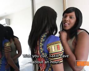 First-Timer African Lesbians Toying With Hump Stick