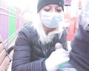 - 4K -FUCK CORONAVIRUS ! -RISKY OUTDOOR FOREARM JOB IN PARK, POP-SHOT ADELLA JAY