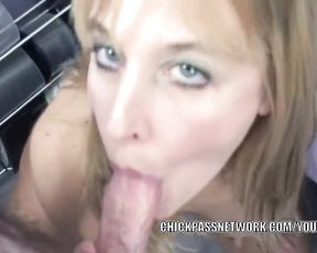 Mature towheaded Liisa in lingerie and swallowing a rigid fuckpole