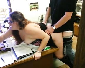 Hotwife Screws in Office of Adult Store, Husband Films