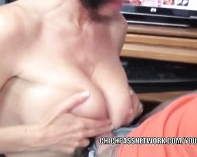 Huge-Chested housewife Melissa Guzzles is inhaling a bore