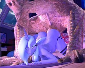 Hooves Art - Luna x some Wierd Monster