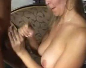 Beautiful on a White Hooter-Sling did an Erotic Mitt Job