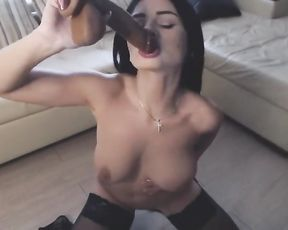 Solo Chick Deep-Throating and Romping Phat Faux Pecker