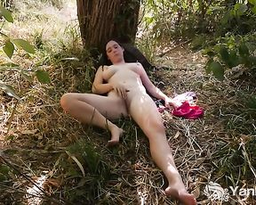 Immense-Boobed Michelle Tugging In The Nature