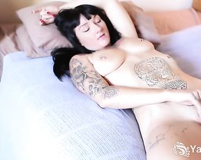 Tattooed Monte Caressing Her Poon