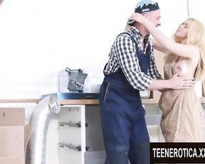 Handsome Youthfull Blond Kati Gold Takes the Plumbers Warm Batter