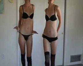2 Sisters Strip Nude on Webcam