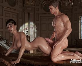 Super-Naughty THREE DIMENSIONAL Goddess providing oral pleasure to his huge-wood prince