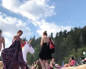 Lil' Prick on Nude Beach! Part 2 - Femmes Laughing! SPH CFNM