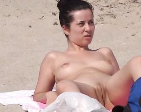 Naked, Uber-Nice and Puffy - this Stellar Goofy Damsel is Well-Lubed, Bare and Open Up on the Nude Beach