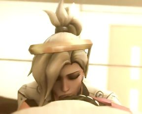 Overwatch trio dimensional cartoon anime pornography Mercy with Patient