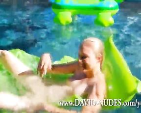 Bare Teen Amanda Plays in Her Pool