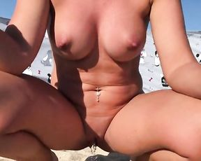 Bare Wifey Urinates in Public on Bare Beach - Rate my Raw Wild Cunt! Urinate Close up