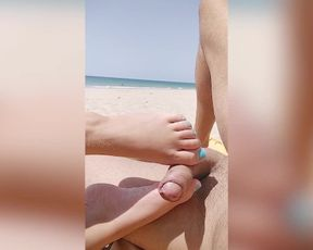 Bare Public Beach. Risky Footjob and Hand-Job by Strangers. nearly Caught