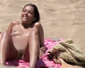 Bare & Super-Naughty on the Beach (smallish Ultra-Cutie is Desperate to get her Cunt Tongued. and she Showcases It!)