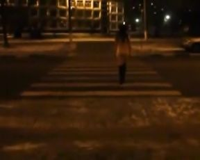 [real] Naked in Public Bus and on Streets, at Night.