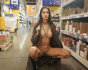 Nude Woman Ambles in the Supermarket