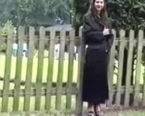 Mature Dark Haired Bare in Public Park - two