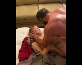 Bulky Guy Unloads Explosion in Cuckold while Spouse is Filming.
