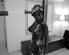 Luxurious SADISM & MASOCHISM Spandex Dame's Silenced Bellows as she Shoots A Load while Deep Throating a Gigantic Faux-Cock
