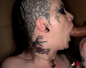 Tatted honey Mallory Maneater deep gullets two jizm-shotguns in a cage