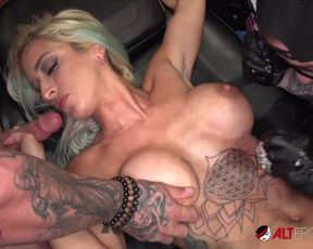 Ample-Titted blond Vanessa Sky gets tatted then ravaged