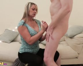 MILF milks and deep throat's nude CFNM stud until he shoots a stream on her