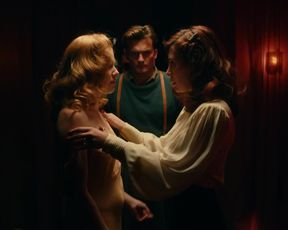 Allegra Masters Topless, Lesbian Kiss in TV show 'Strange Angel'
