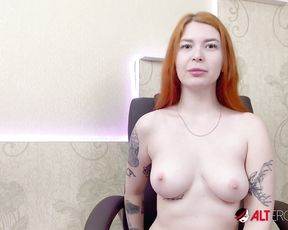 Solo Erotic - Big titty tattooed redhead Kate Utopia masturbating