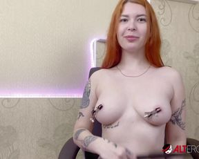 Fat tit tatted crimson-haired Kate Utopia jerking