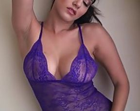 Magnificent dark-hued-haired in purple, lacy underwear, Sunny Leone is making a solo erotic vid just for joy