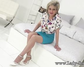 Mature Damsel Sonia is aroused for her trio-way