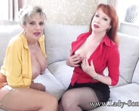JOI from giant-jugged British matures Lady Sonia and Red HARD-CORE