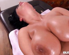 Mature black-haired with meaty milk milk cans, Rebecca Jessop is secretly draining in a rubdown apartment