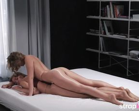 Exhilarated blondes in glossy tights are providing a rubdown to each other, with a rope- on