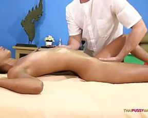 Smallish jugged, Thai lady is about to have casual sex intercourse in a massage parlor, just for fun
