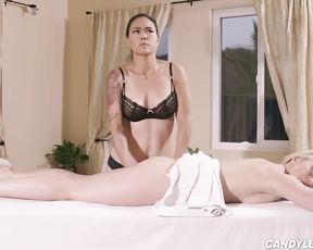 Brazilian chocolate-colored-haired made one of her all gal clients bust during an orgasm, in her massage parlor