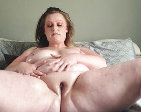 Enormous immense mega-cockslut giving her funbags and pussy a lubricant massage