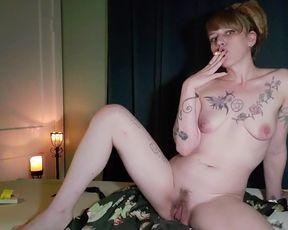 Smoking,Self Massage and Splattering with my MASSIVE EBONY JIZZ-SHOTGUN faux fuck-stick.