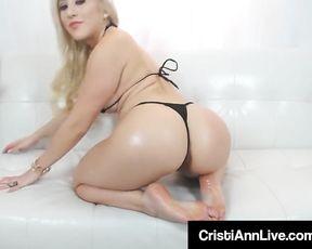 Chinese Latina Cristi Ann Oils Up Her Melons Feet Rump & Vulva